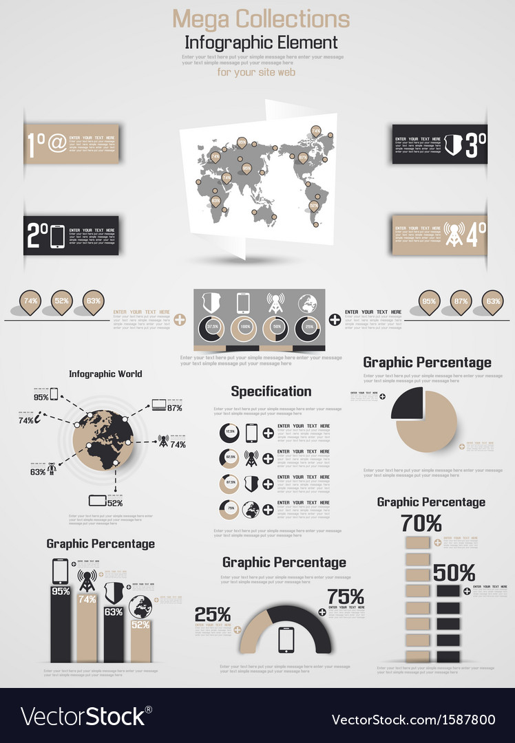 Retro infographic demographic world map elements 2 vector | Price: 1 Credit (USD $1)
