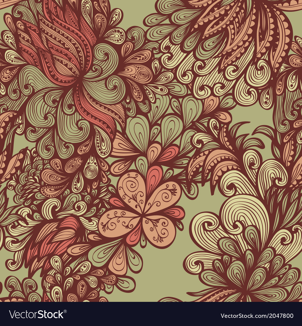 Seamless hand drawn floral pattern vector | Price: 1 Credit (USD $1)