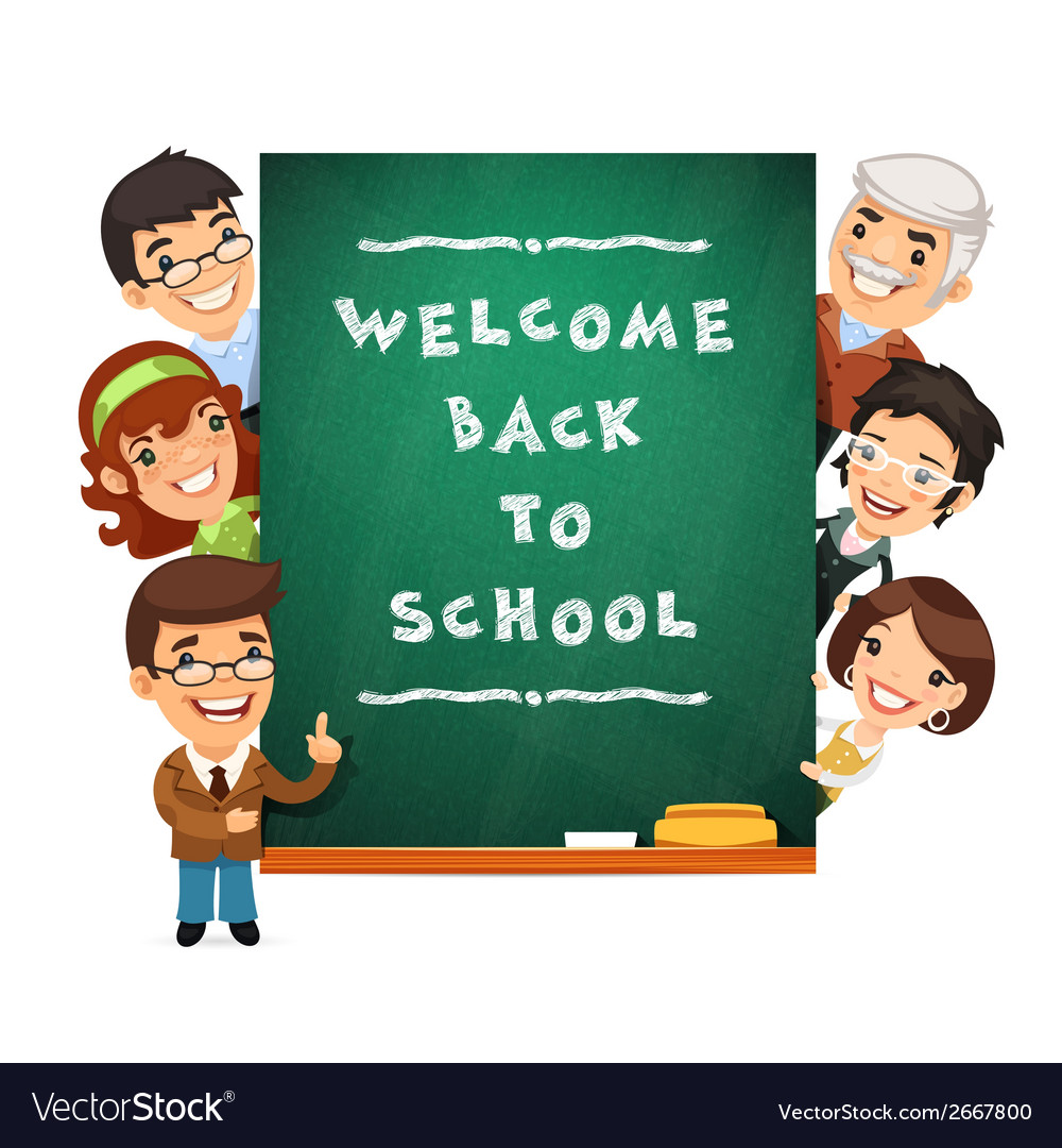 Teacher points to the blackboard with welcome back vector | Price: 1 Credit (USD $1)
