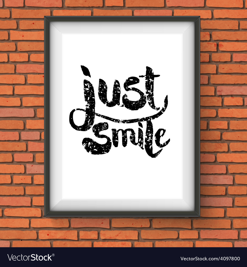 Text design for just smile concept on a frame vector | Price: 1 Credit (USD $1)