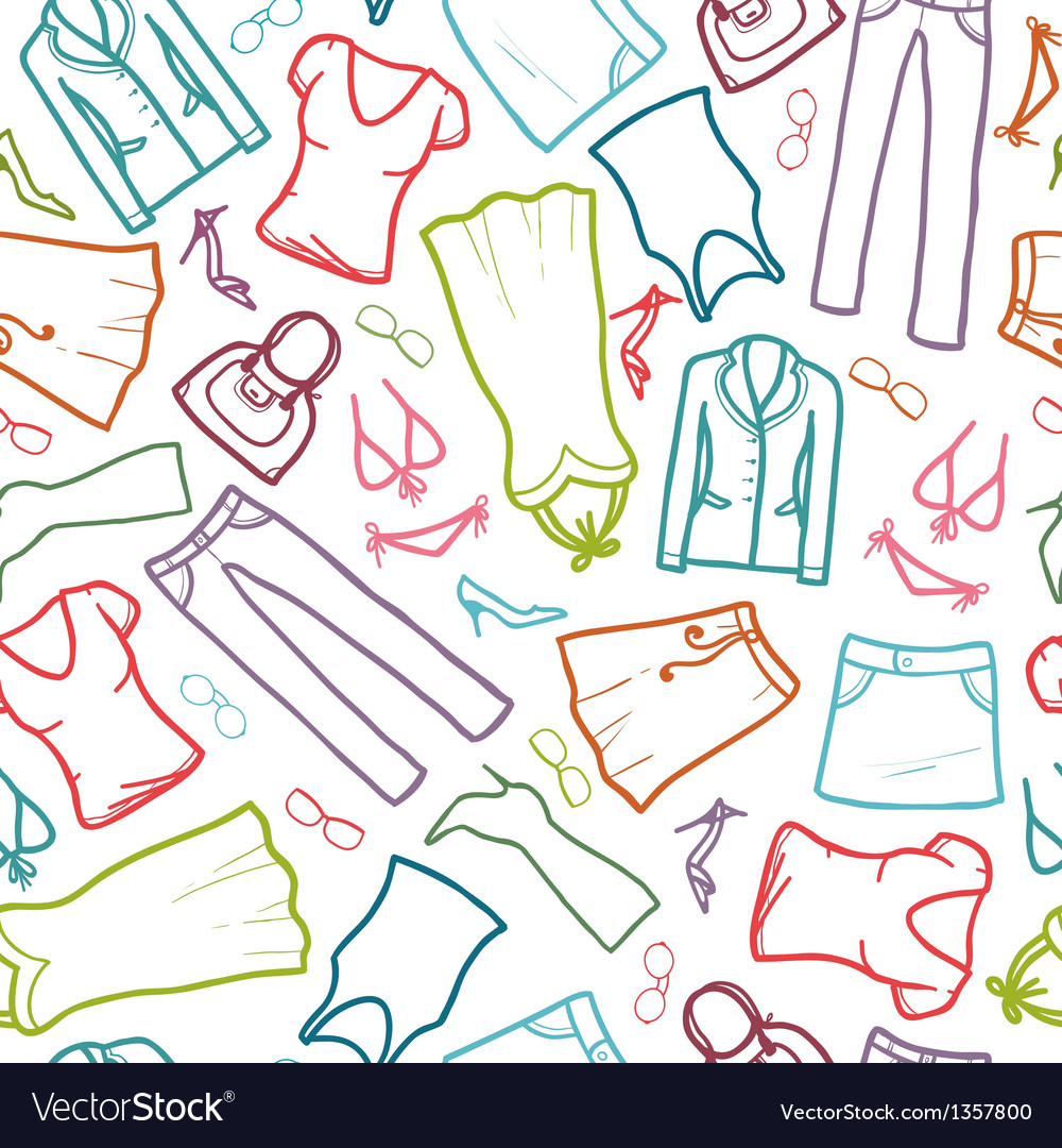 Wardrobe clothing seamless pattern background vector | Price: 1 Credit (USD $1)