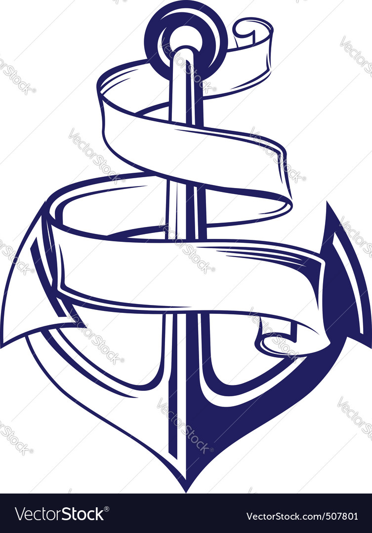 Anchor with ribbon vector | Price: 1 Credit (USD $1)