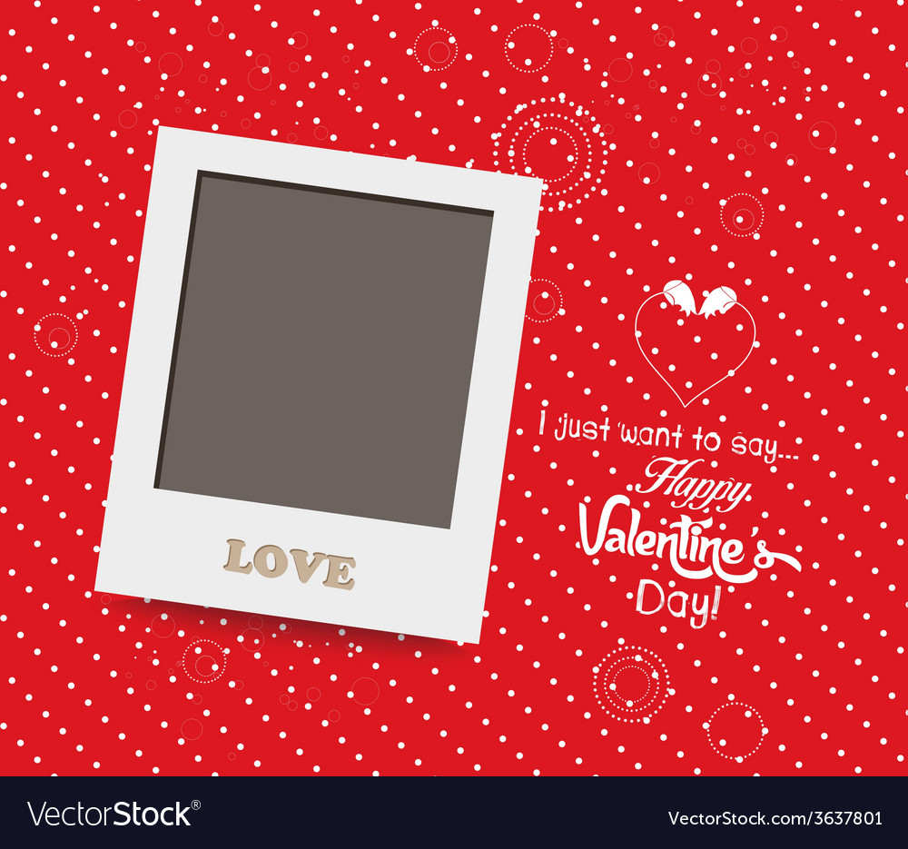 Blank instant photo frame lovely on red background vector | Price: 1 Credit (USD $1)
