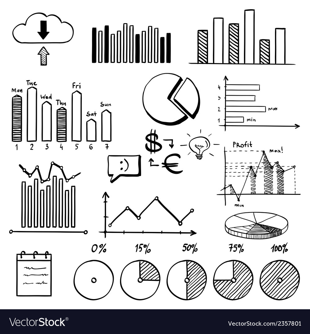 Business finance doodle hand drawn elements with vector | Price: 1 Credit (USD $1)