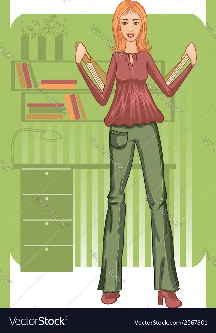 Business woman with folders near desk vector | Price: 1 Credit (USD $1)
