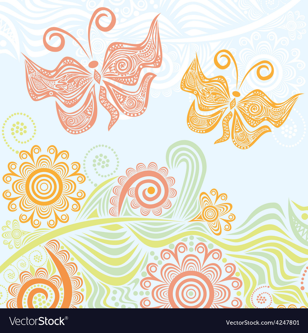 Butterflies and beautiful nature pattern backgroun vector | Price: 1 Credit (USD $1)
