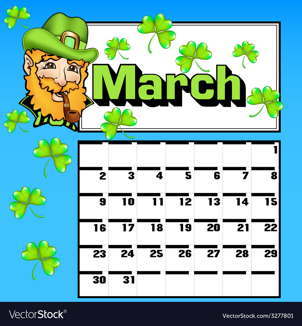 Calendar for march st patricks day vector | Price: 1 Credit (USD $1)