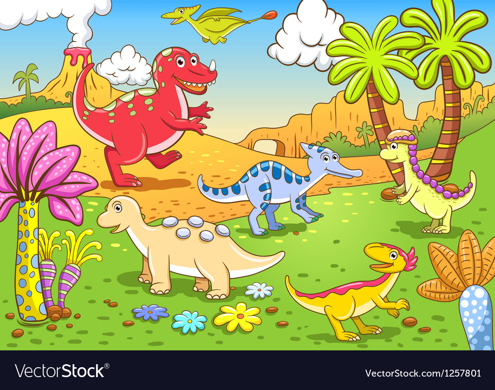 Cartoon dinosaur background vector | Price: 1 Credit (USD $1)