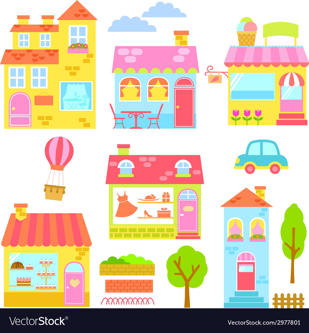 Colorful buildings vector | Price: 1 Credit (USD $1)