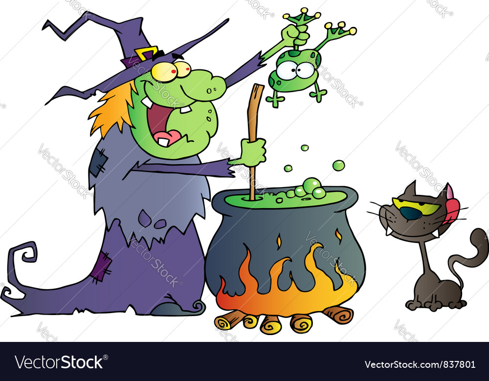 Crazy witch with black cat holding a frog vector | Price: 1 Credit (USD $1)