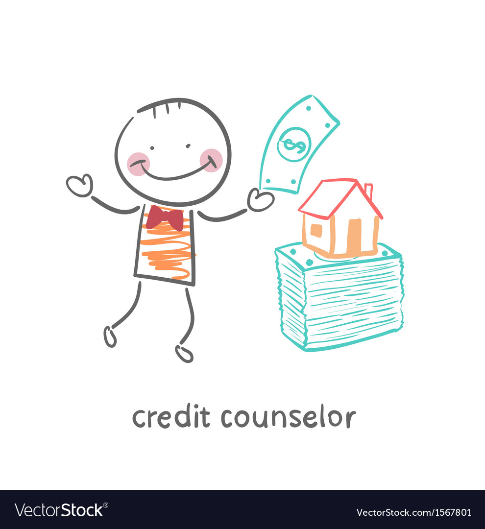 Credit counselor near a bundle of money and the vector | Price: 1 Credit (USD $1)