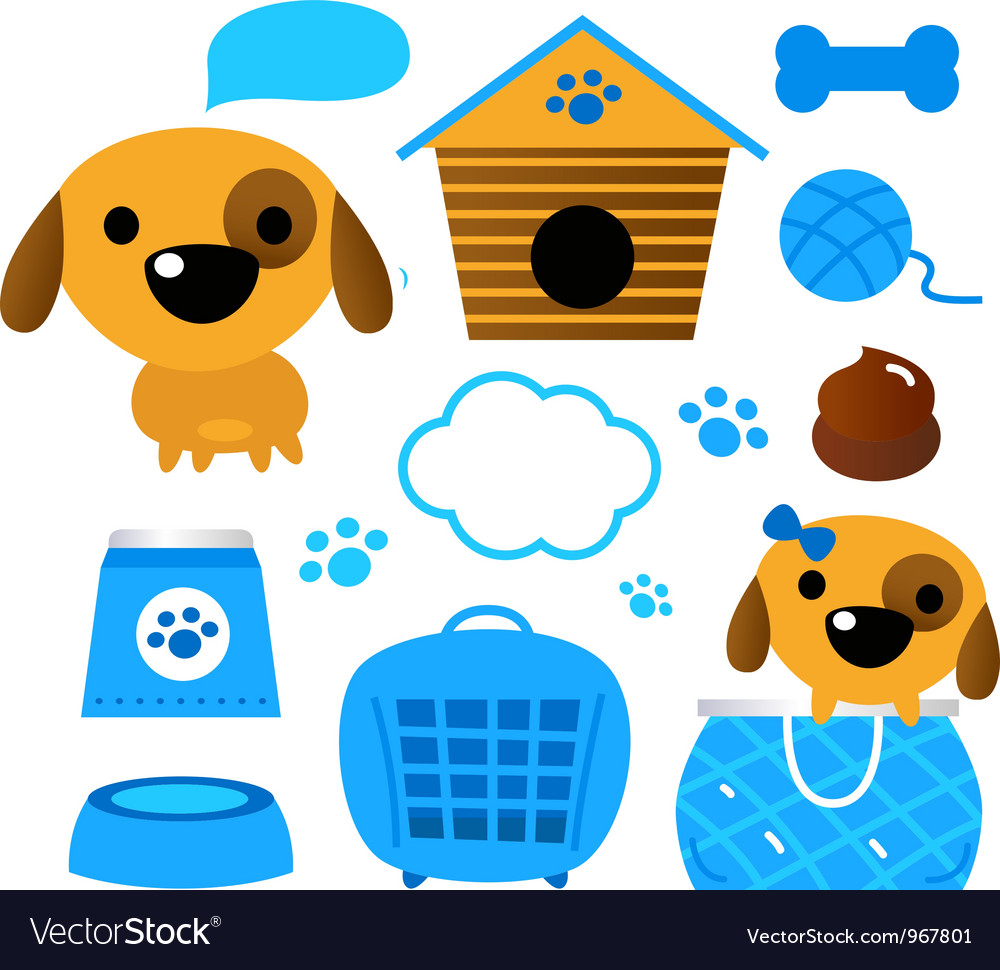 Dog accessories set isolated on white - blue vector | Price: 1 Credit (USD $1)
