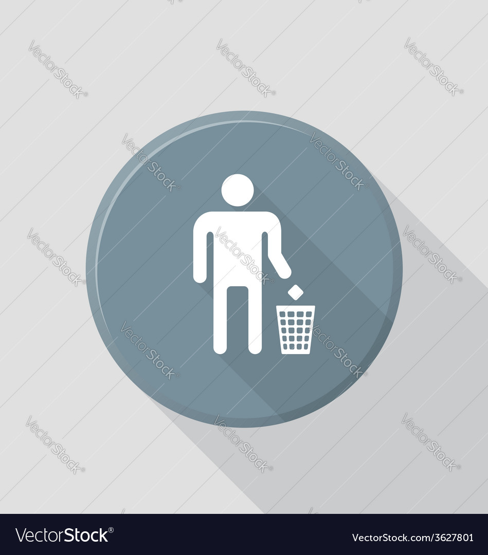 Flat style waste sign icon with shadow vector | Price: 1 Credit (USD $1)