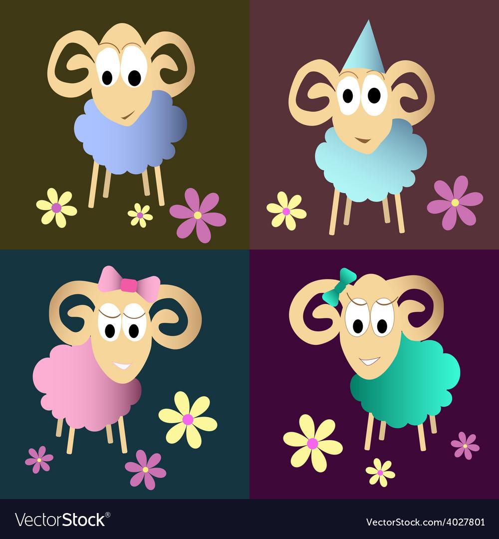 Funny sheeps cartoon collection vector | Price: 1 Credit (USD $1)