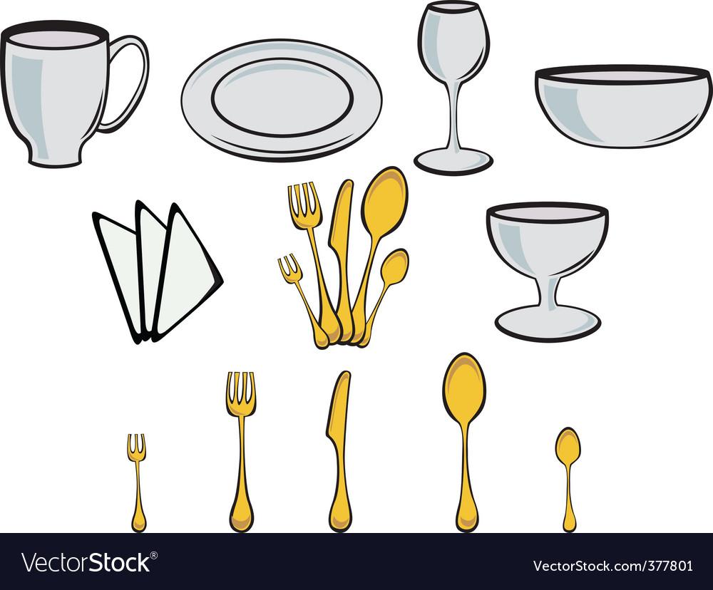Kitchenware design elements vector | Price: 1 Credit (USD $1)