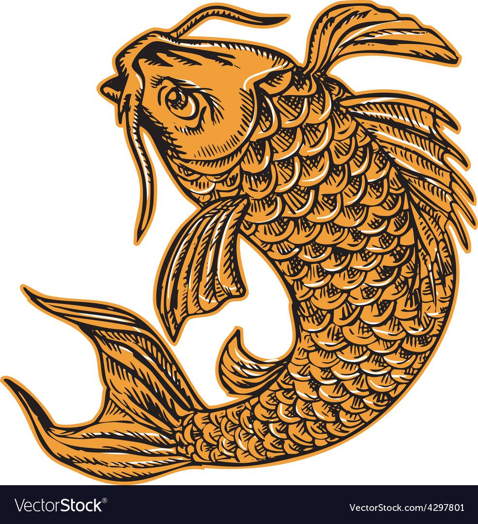 Koi nishikigoi carp fish jumping etching vector | Price: 1 Credit (USD $1)