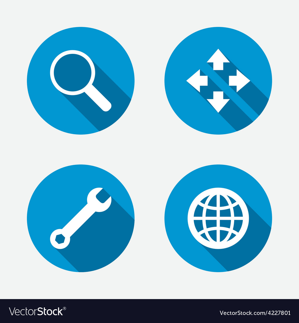Magnifier glass and globe signs fullscreen vector | Price: 1 Credit (USD $1)