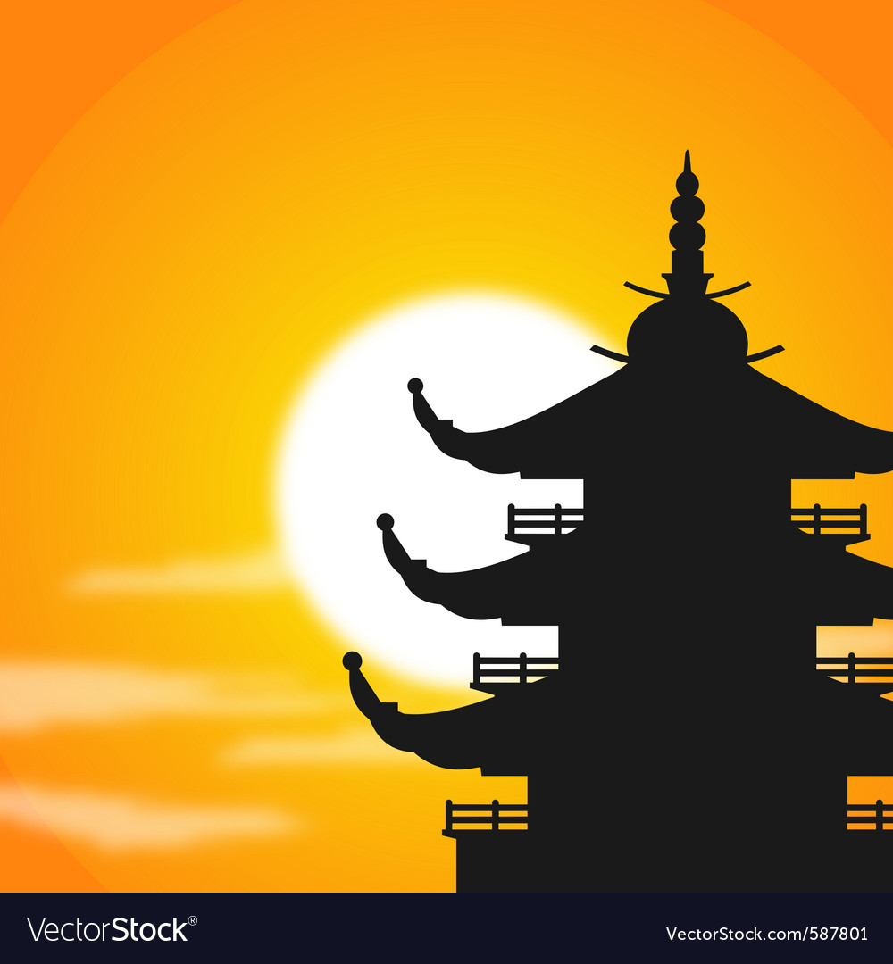 Pagoda silhouette at dusk vector | Price: 1 Credit (USD $1)