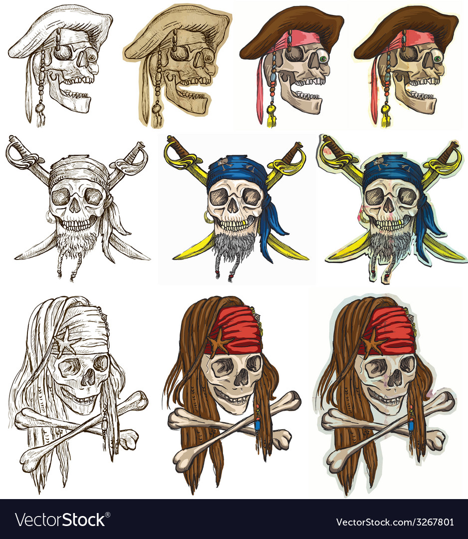Pirates - pirate skulls collection hand drawings vector | Price: 1 Credit (USD $1)
