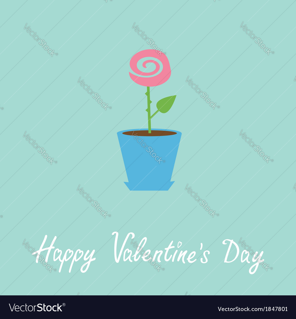 Rose in pot love card happy valentines day vector | Price: 1 Credit (USD $1)