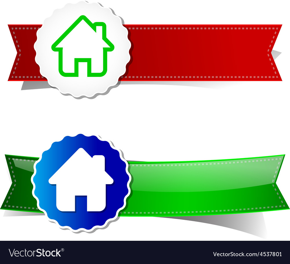 Set of home tag banner ribbon element vector | Price: 1 Credit (USD $1)