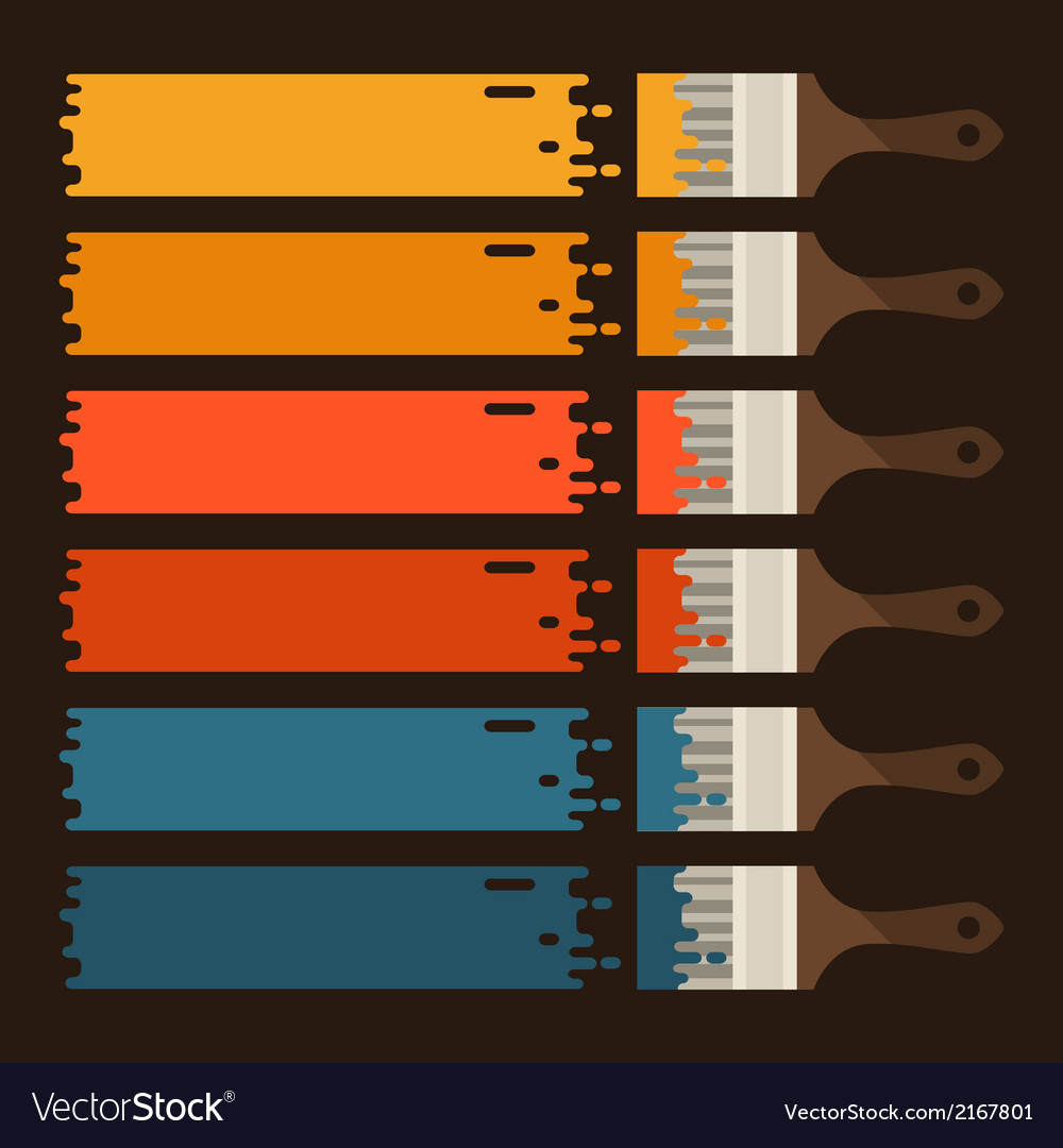 Set of paint brushes with colored strips vector | Price: 1 Credit (USD $1)