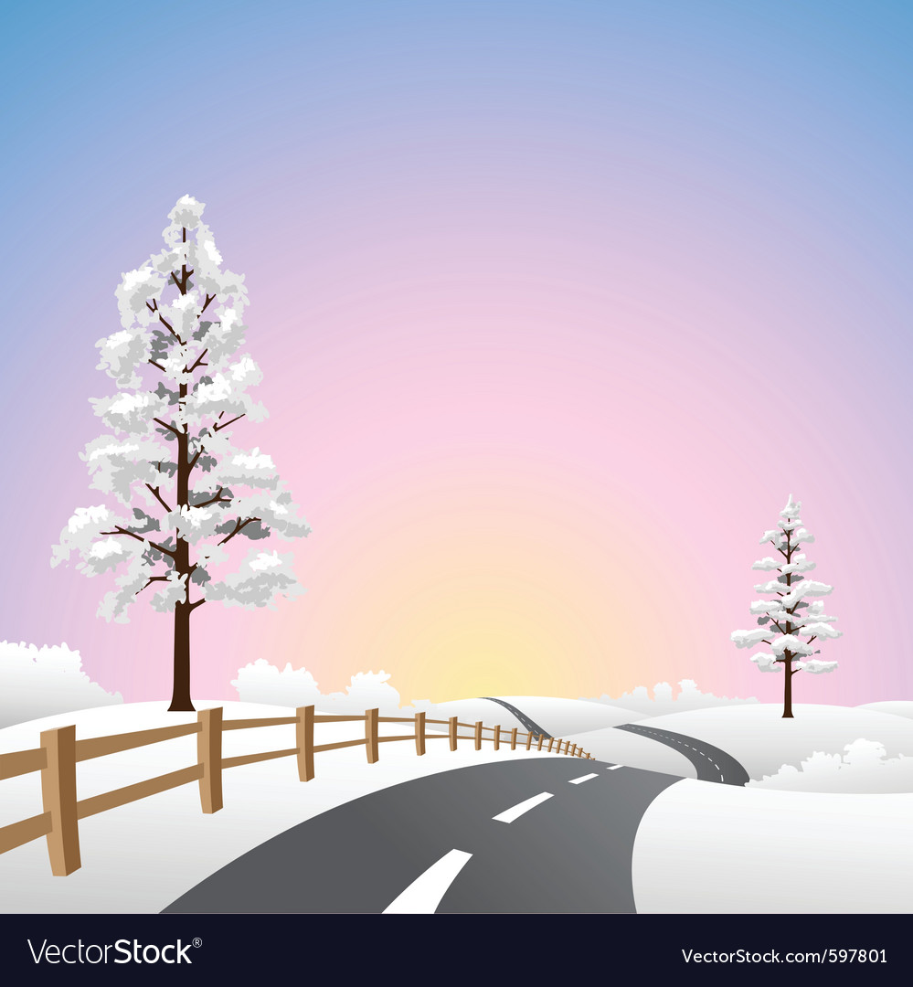 Snow landscape vector | Price: 1 Credit (USD $1)