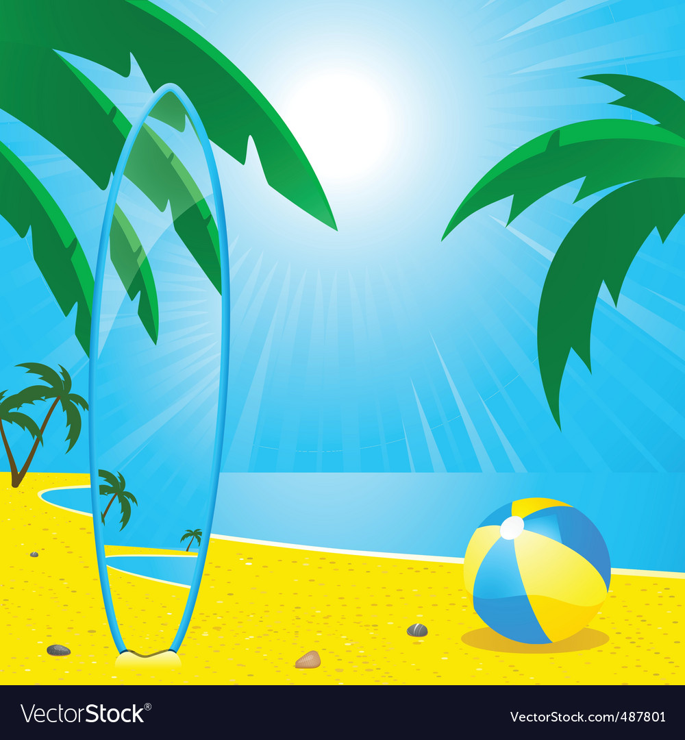 Summer beach and surf board2 vector | Price: 1 Credit (USD $1)