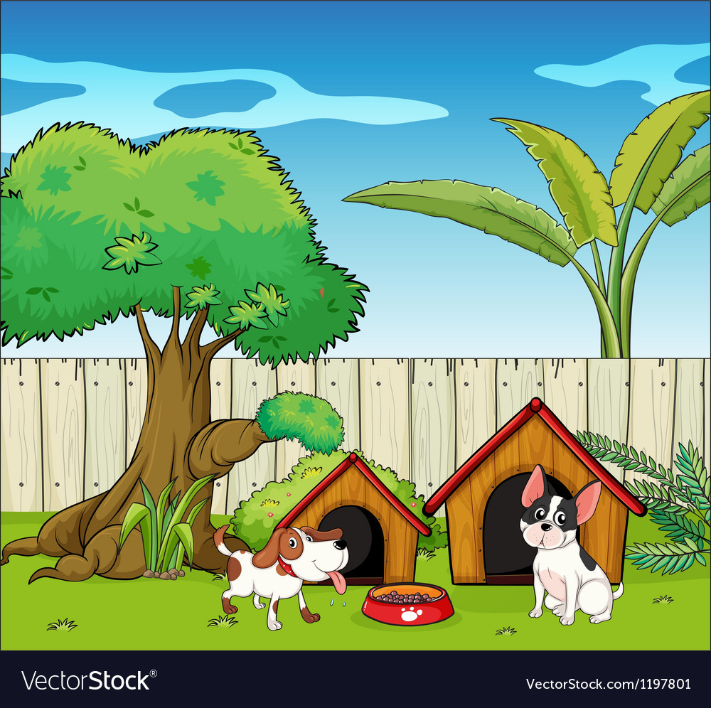 Two dogs inside the fence vector | Price: 1 Credit (USD $1)