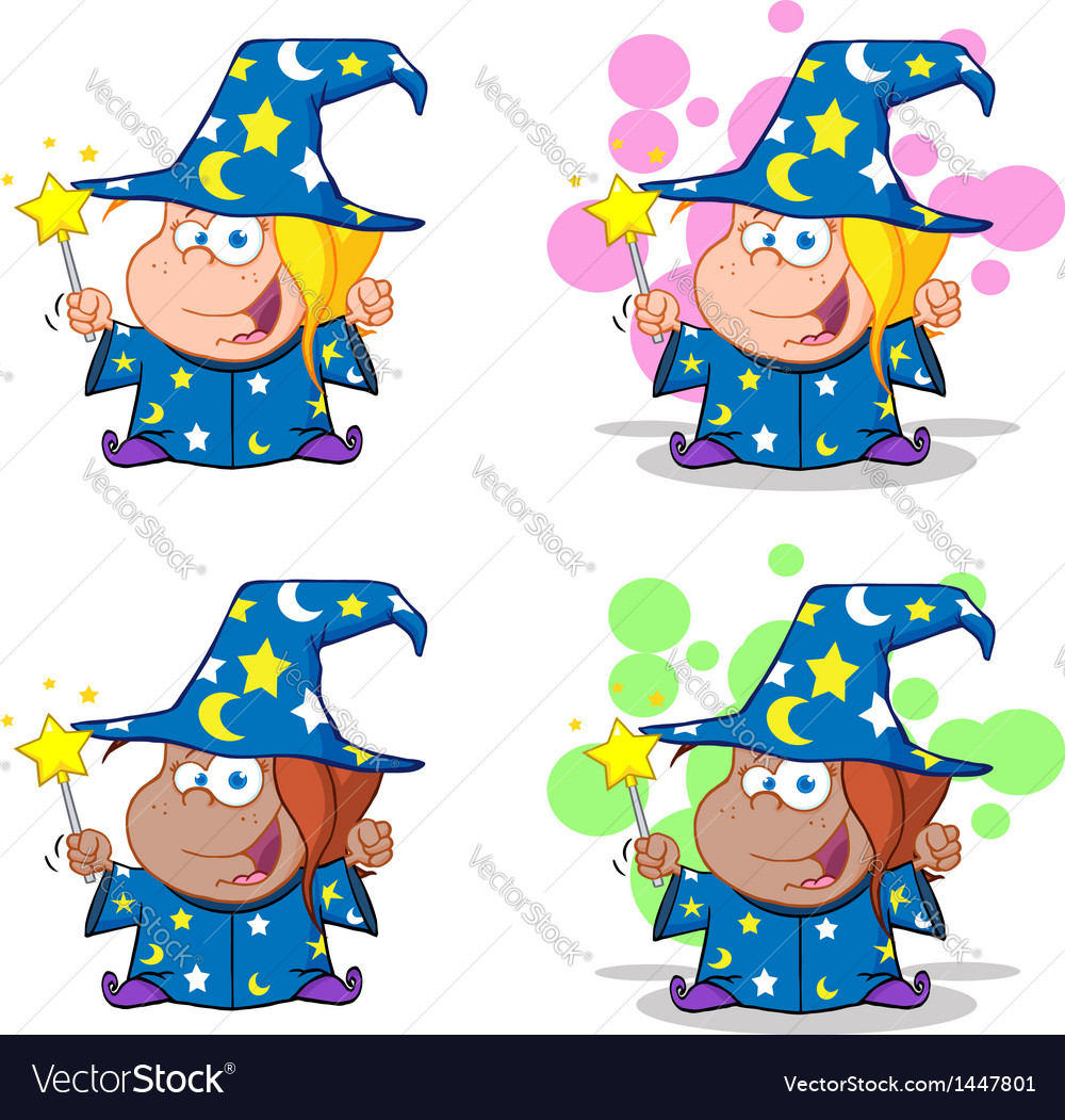 Wizard girl waving with magic wand collection vector | Price: 3 Credit (USD $3)