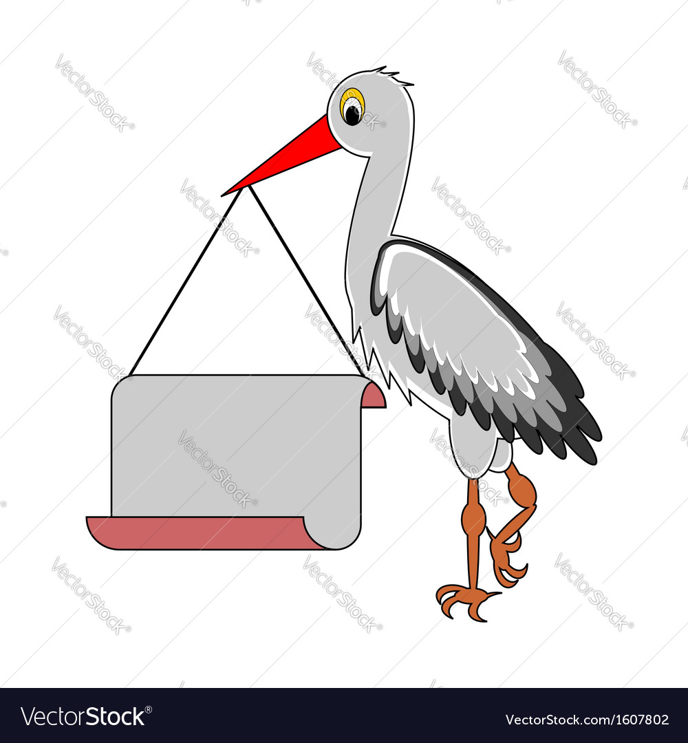A stork holding a big blank paper in his beak vector | Price: 1 Credit (USD $1)