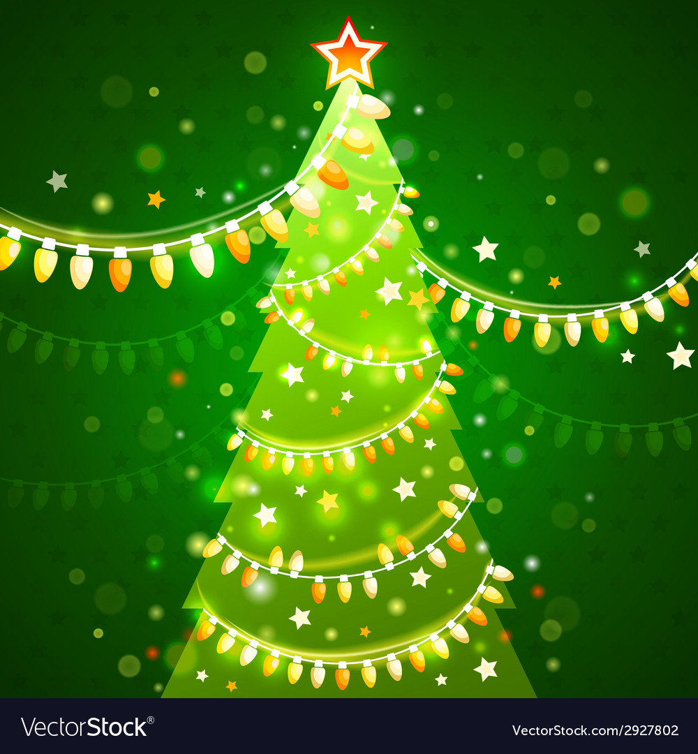 Christmas tree on a dark green background vector | Price: 1 Credit (USD $1)