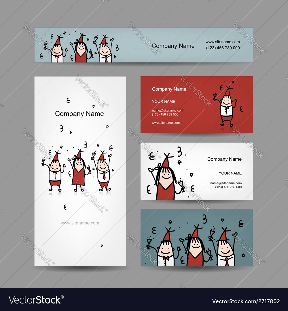 Design of business cards with corporate party vector | Price: 1 Credit (USD $1)
