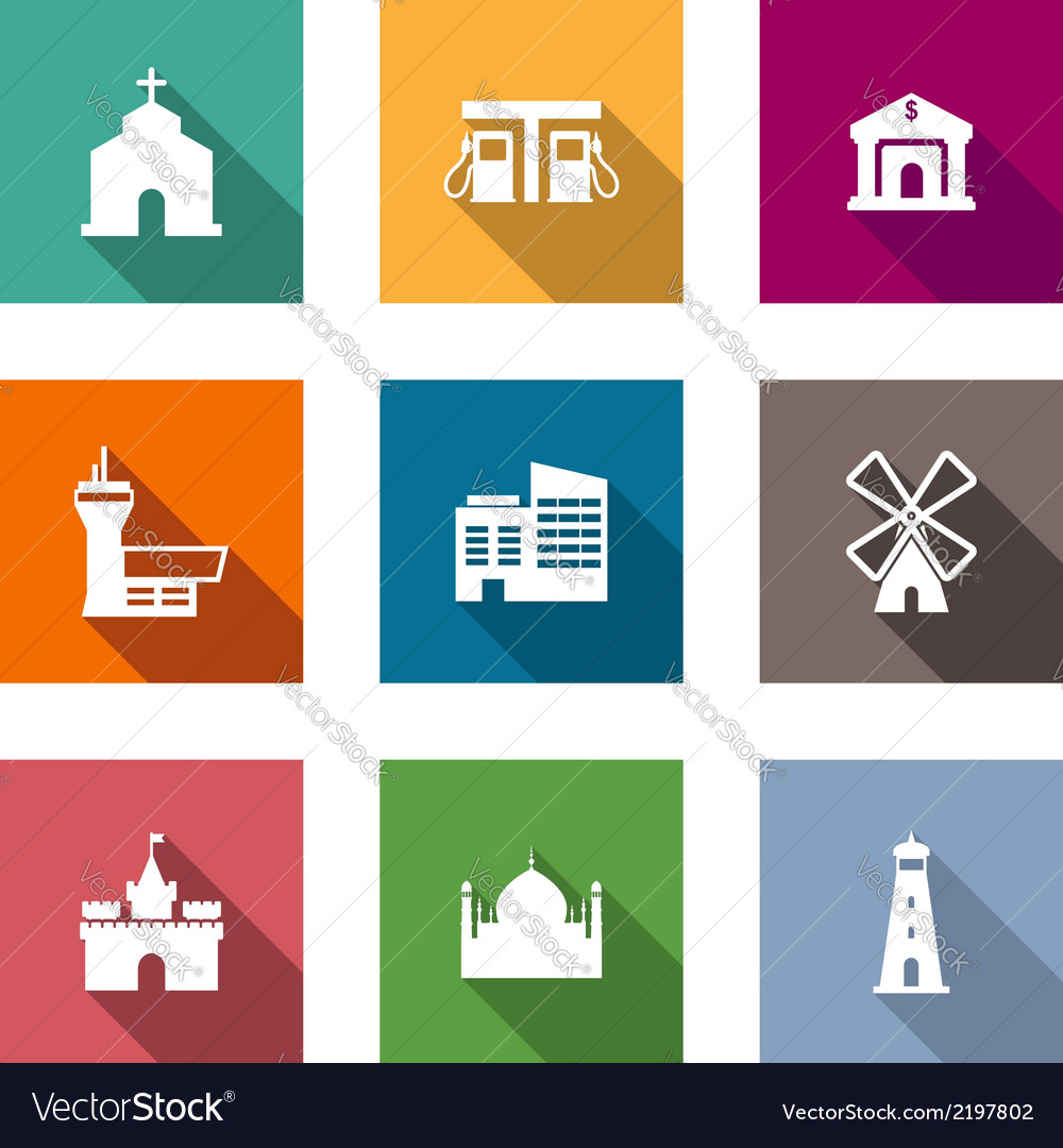 Flat architectural icons vector | Price: 1 Credit (USD $1)