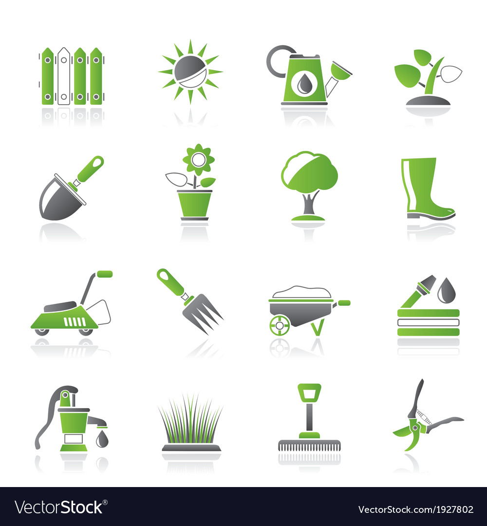 Gardening tools and objects icons vector | Price: 1 Credit (USD $1)