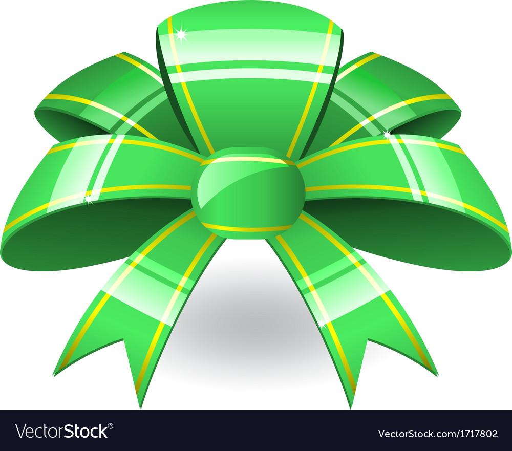 Green ribbon bow vector | Price: 1 Credit (USD $1)