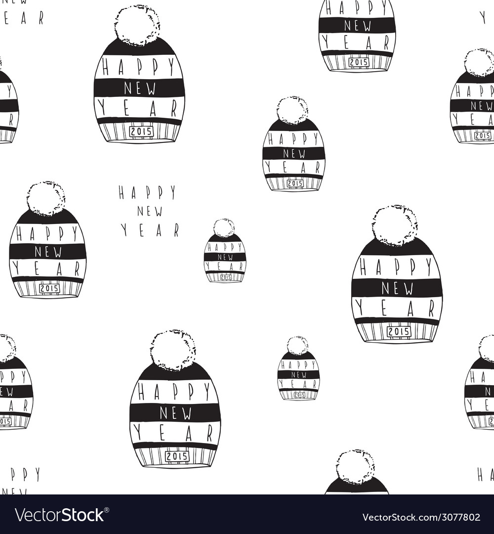 Hand drawn new year seamless pattern vector | Price: 1 Credit (USD $1)