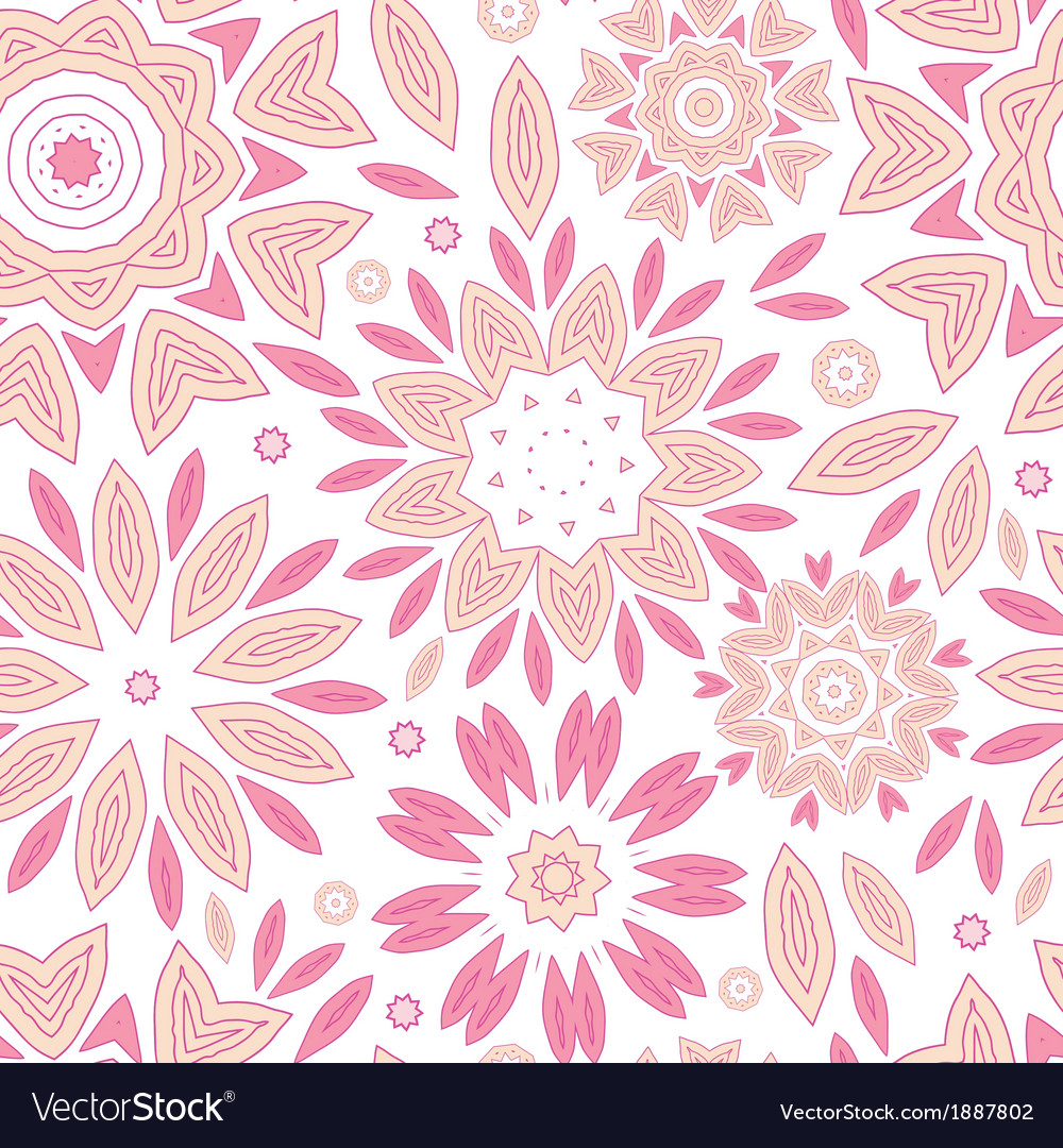 Pink abstract flowers seamless pattern background vector | Price: 1 Credit (USD $1)