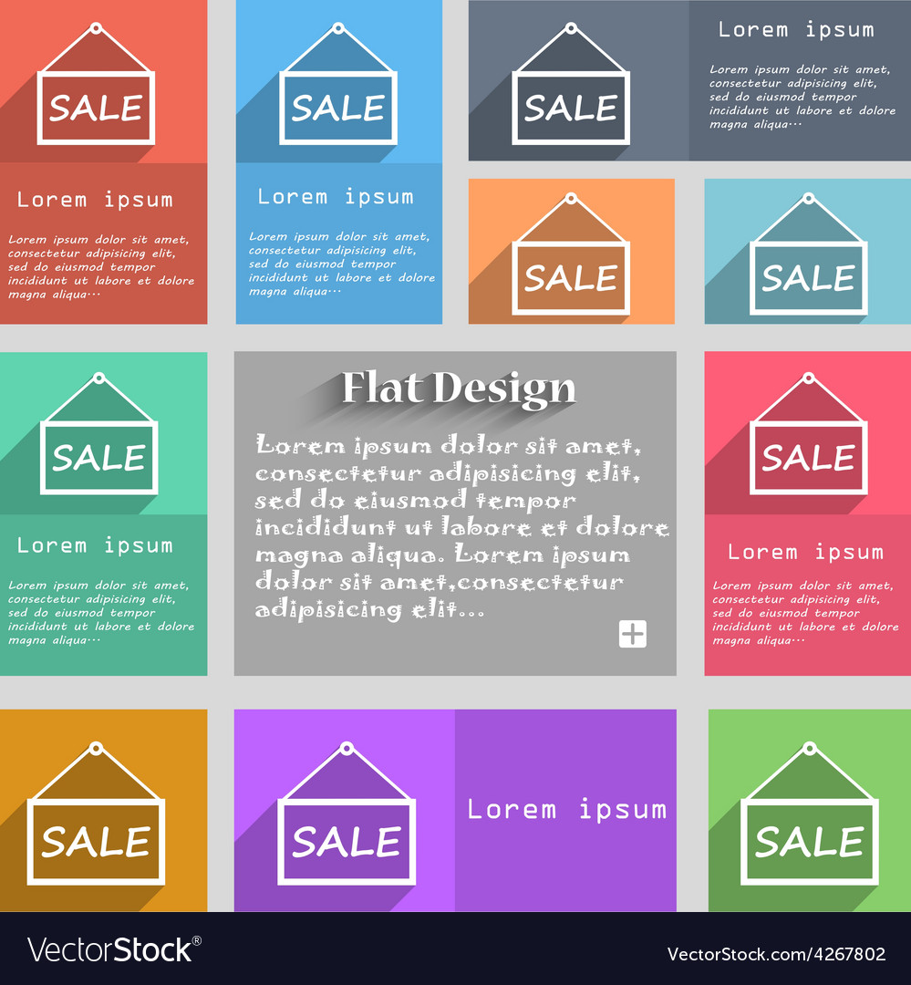 Sale tag icon sign set of multicolored buttons vector | Price: 1 Credit (USD $1)
