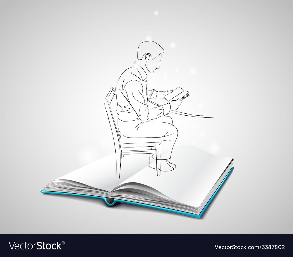 Sketch doodle man sitting at the table on a chair vector | Price: 1 Credit (USD $1)