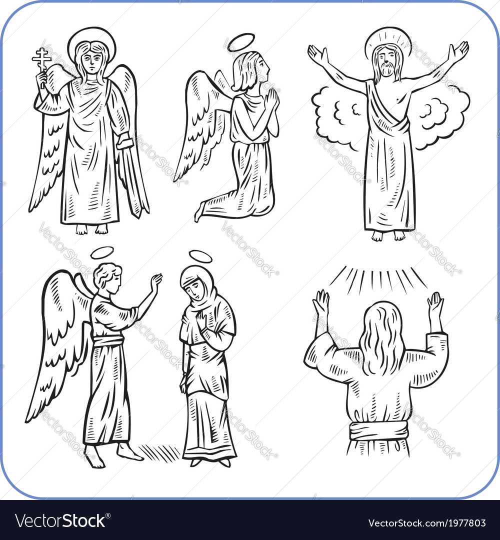 Angels and saints - vector | Price: 1 Credit (USD $1)