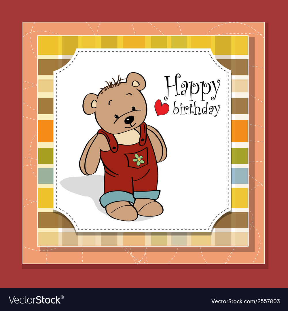 Birthday greeting card with teddy bear vector | Price: 1 Credit (USD $1)