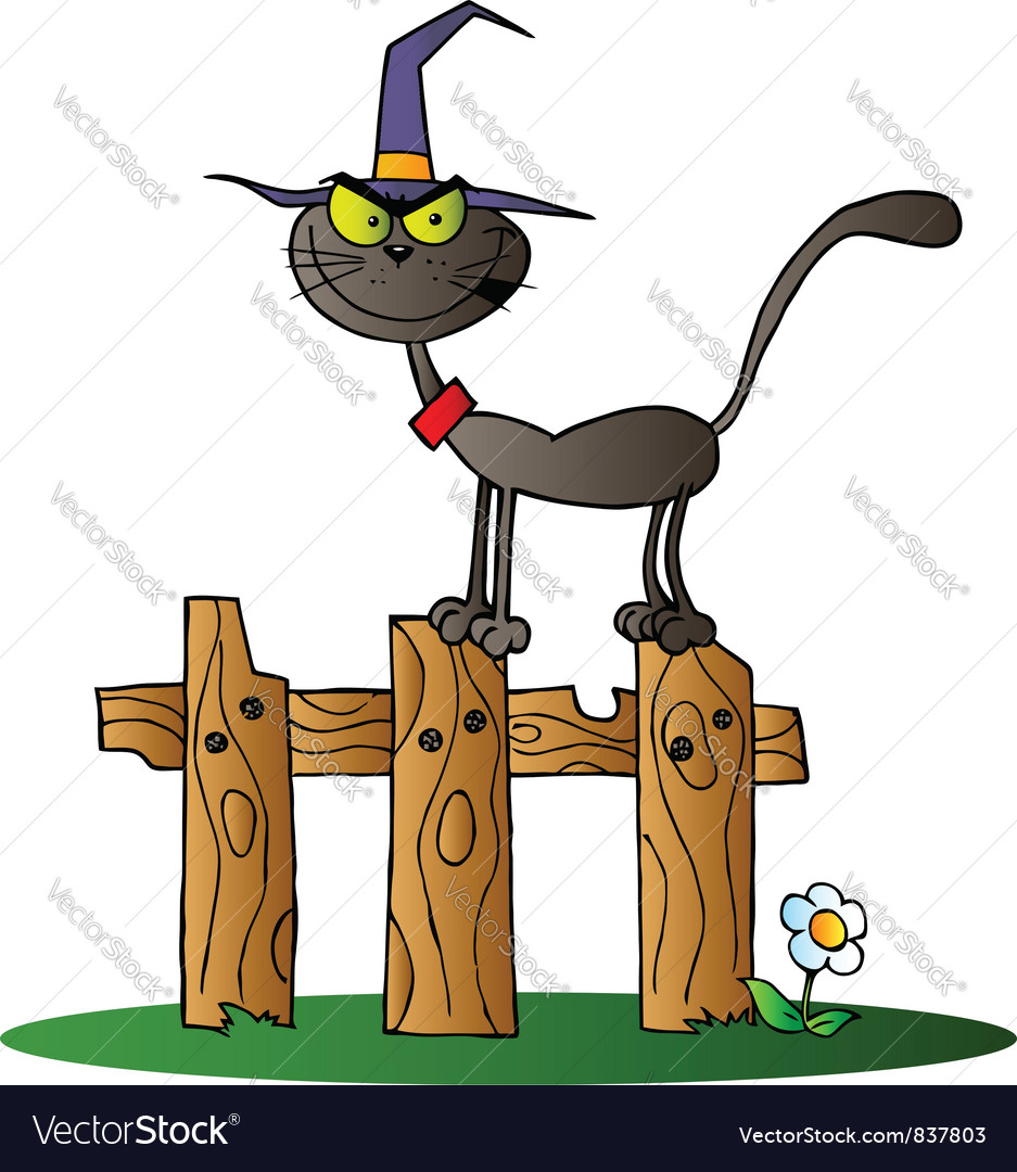 Black cat witch on a fence vector   Price: 1 Credit (USD $1)