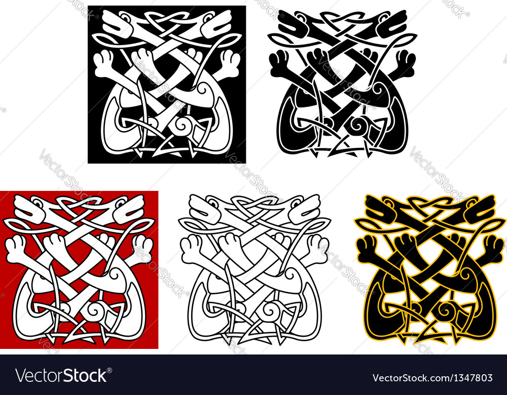Celtic ornament with dogs and wolves vector
