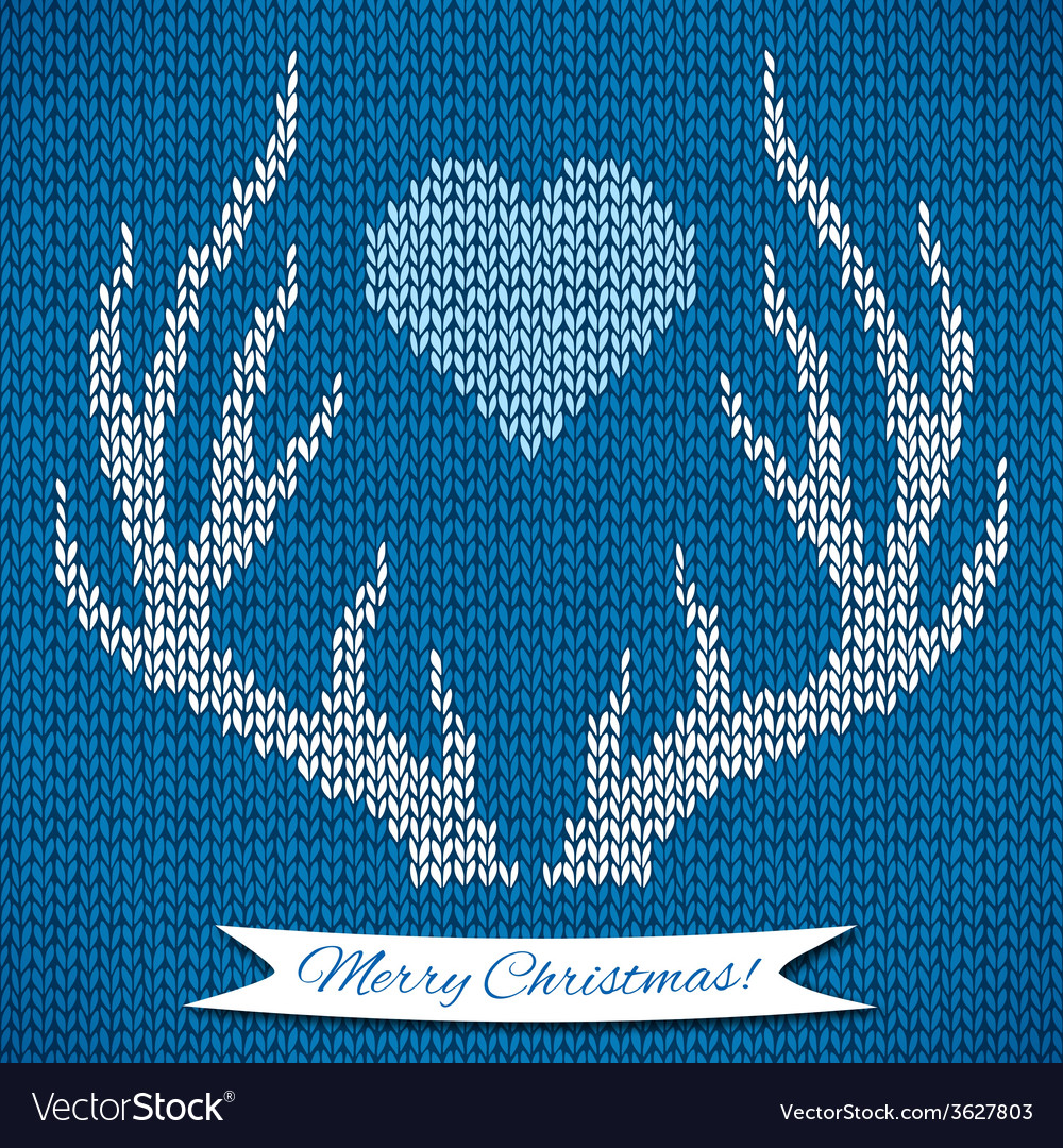 Decorative background with knitted deer horns vector | Price: 1 Credit (USD $1)