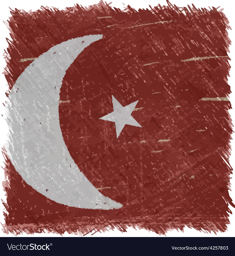Flag of turkey handmade square shape vector | Price: 1 Credit (USD $1)