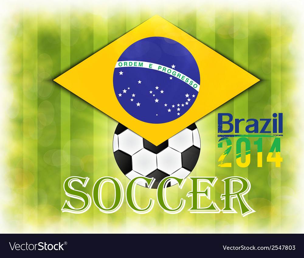 Football card in brazil flag colors vector | Price: 1 Credit (USD $1)
