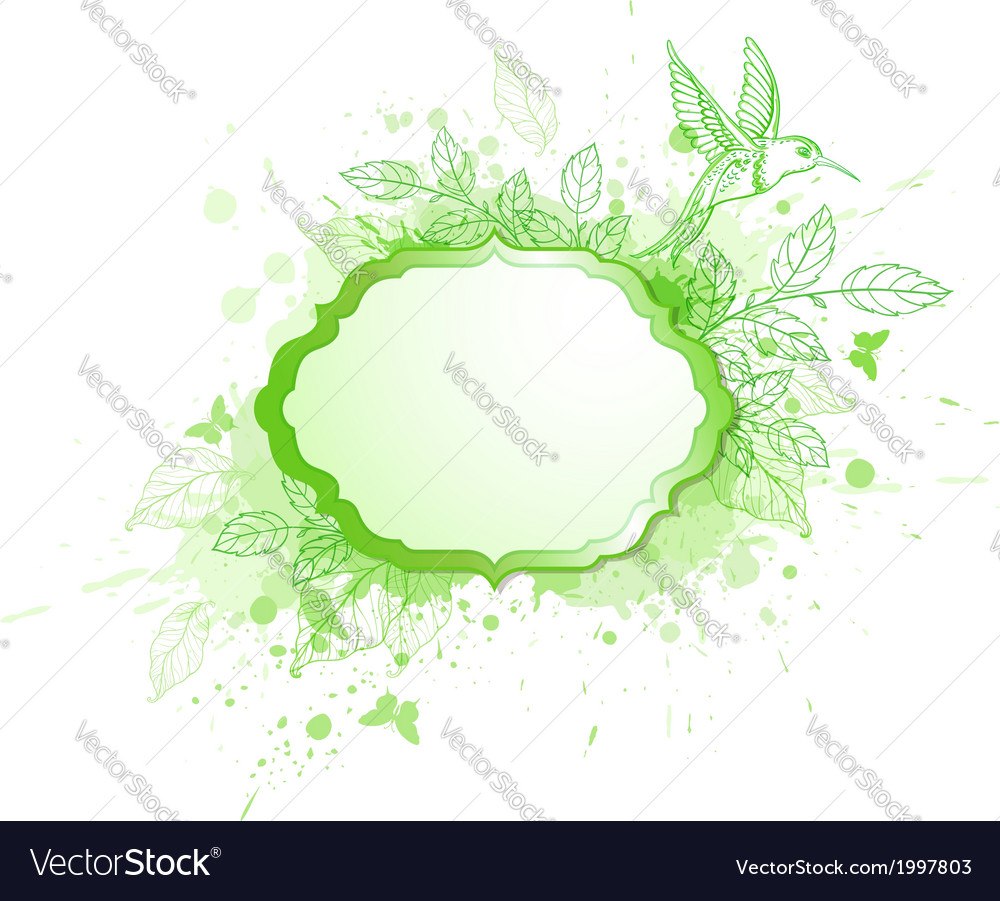 Green ecology banner with leaves and bird vector | Price: 1 Credit (USD $1)