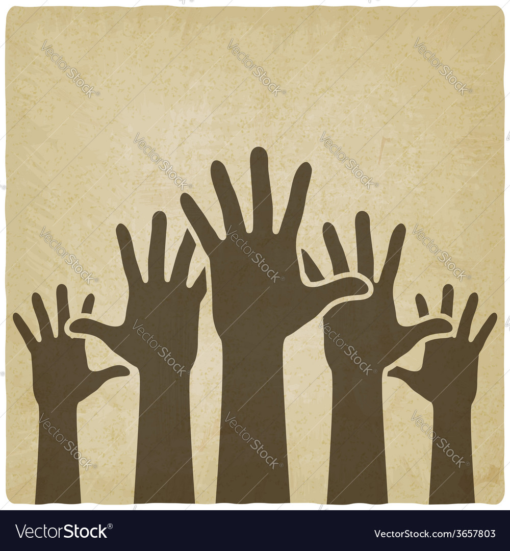 Hands up symbol old background vector | Price: 1 Credit (USD $1)