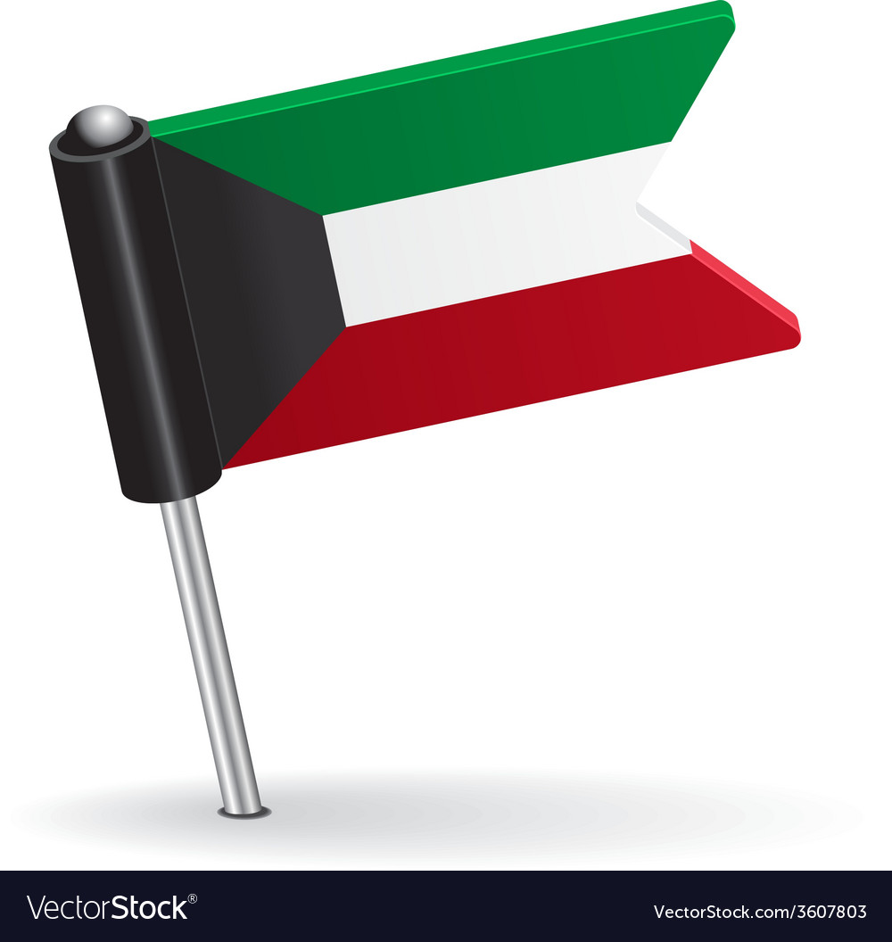 Kuwait pin icon flag vector | Price: 1 Credit (USD $1)